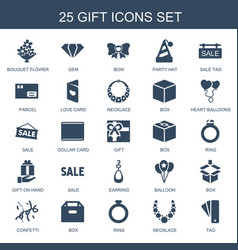 25 gift icons vector image