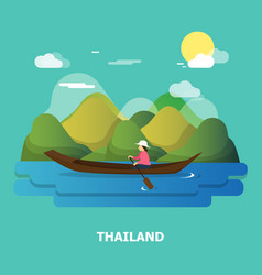 A woman with boat on the river design in vector