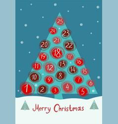 Advent calendar in shape a christmas tree vector
