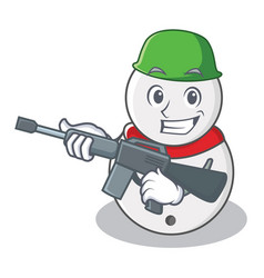 Army snowman character cartoon style vector
