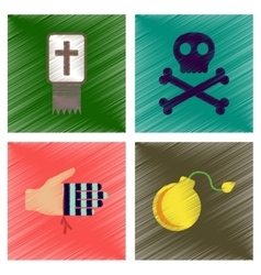 assembly flat shading style icons Halloween vector image