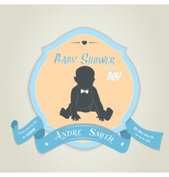 Baby shower invitation with baby boy vector image