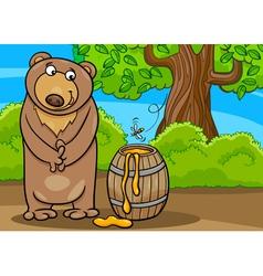 Bear with honey cartoon vector