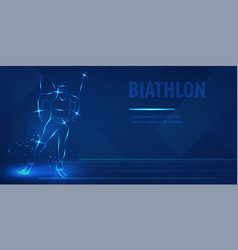 biathlon skiing speed race man figure skating vector image