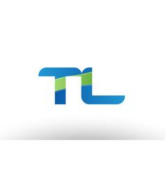 blue green tl t l alphabet letter logo vector image