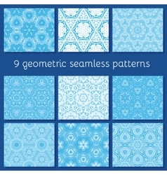 blue winter seamless pattern set vector image