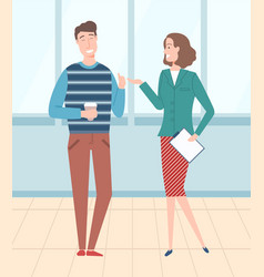 boss and worker employee and employer vector image