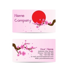 Business Card with Blooming Sakura vector