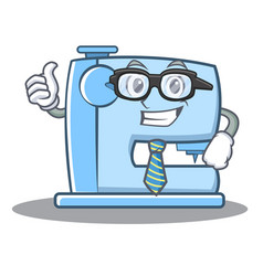 Businessman sewing machine emoticon character vector