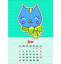 Calendar 2017 with cats june in cartoon 80s-90s vector