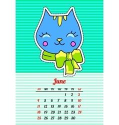 Calendar 2017 with cats June In cartoon 80s-90s vector image