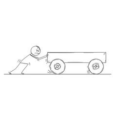 Cartoon of man pushing empty cart vector