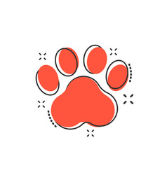 cartoon paw print icon in comic style dog or cat vector image