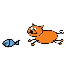 Cat chasing fish vector image