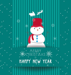 christmas and happy new year with snowman card vector image