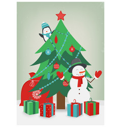 Christmas card with christmas tree and gifts vector