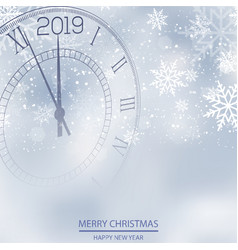 christmas or new year card with clock vector image