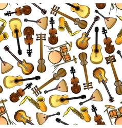 Classic ethnic music instruments seamless pattern vector