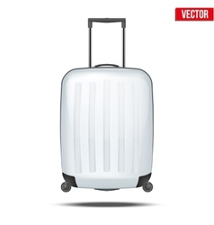 Classic white plastic luggage suitcase for air or vector image