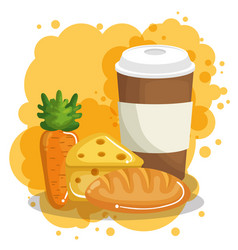 coffee with bread and cheese vector image