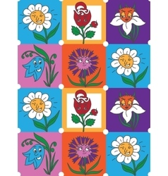 Colorful flowers fun collection pattern for kids vector image vector image