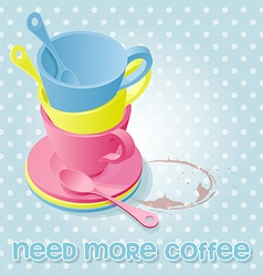 colorful of coffee cups on polka dot pattern vector image