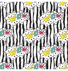 Colorful seamless pattern on striped backdrop Wow vector