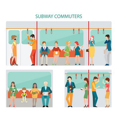 Commuters subway design vector