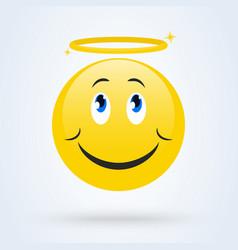 Cute angel emoticon smiling face vector