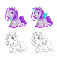 cute little horse and unicorn icons colorful and vector image