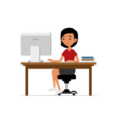 Cute young girl sitting at desk and working on vector