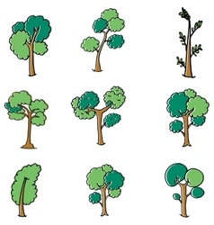 Different design tree set doodle vector