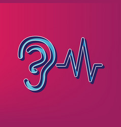 Ear hearing sound sign blue 3d printed vector