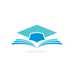 Education logo concept with graduation cap and ope vector