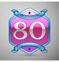 Eighty years anniversary celebration silver logo vector