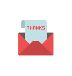 Envelope with thank you letter icon symbol vector