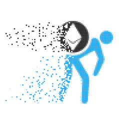 Ethereum courier person fractured pixel icon vector