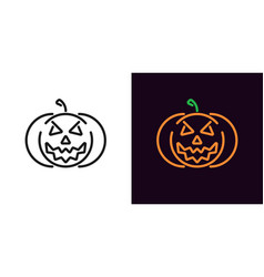 evil pumpkin in outline style vector image