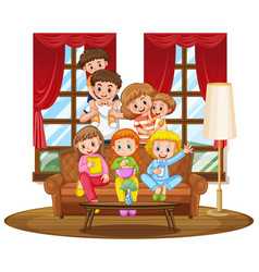 Family together on couch vector