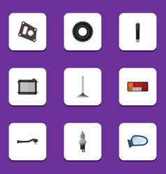 flat icon auto set of heater input technology vector image