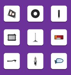 flat icon auto set of heater input technology vector image