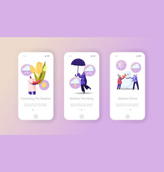Freezing spring and climate change mobile app page vector