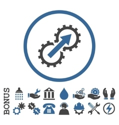 Gear Integration Flat Rounded Icon with vector image