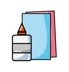 Glue and cardboard scchool utensils to education vector