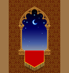 Gothic decorative window with red banner vector