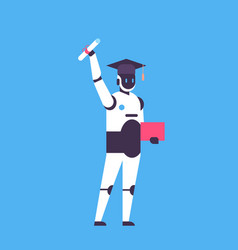 graduated robot hold diploma certificate student vector image