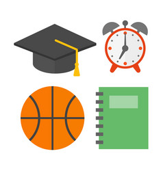Graduation hat and school icons isolated vector