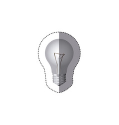 grayscale sticker silhouette with light bulb vector image