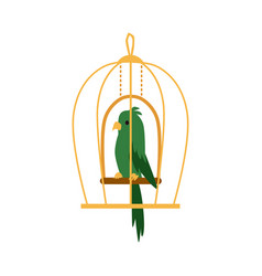 Green exotic parrot bird in cage icon flat cartoon vector