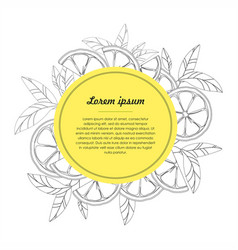 hand drawn circle design template with citrus vector image